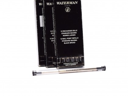 New BLACK WATERMAN Standard Maxima Large Broad High Capacity Ballpoint Metal Refill 809 Made in Germany (For Vintage & New Ball Point Pens)