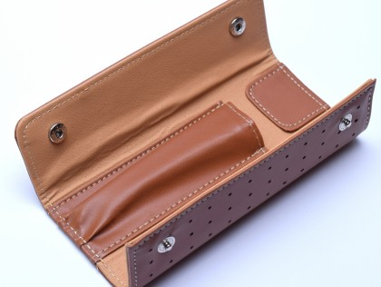 New Light Brown Faux Leather Pouch Case for 2 Fountain / Ballpoint Pens