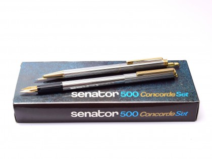 Rare NOS 1970s Senator Concorde 500 Brilliant Chrome & Gold Fountain & Ballpoint Pen Set in Box with Original Converter & Reform EF Nib
