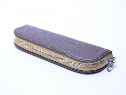Vintage WICO High Quality Genuine Hard Brown Leather & Beige Pouch Case for 2 Fountain/Ballpoint Pens