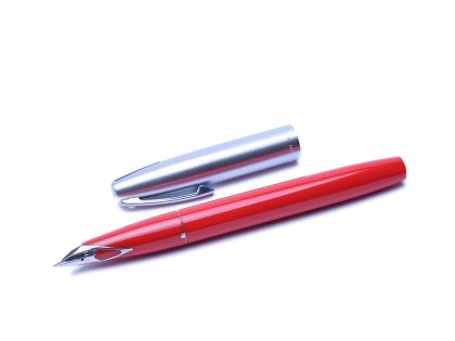 1970's Sheaffer 440 Imperial Red & Brushed Steel F Fine Nib Fountain Pen With Converter