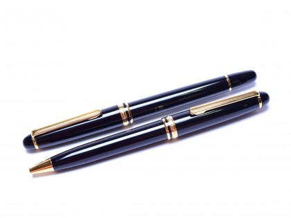 Rare 1994 Spanish INOXCROM 1920 CARAVEL II Black Resin & Gold M Nib Fountain Pen & Ballpoint Pen Set