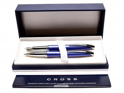 Cross ATX Translucent Dark Navy Blue Lacquer Stainless Steel F Fine Nib Piston Converter Fountain & Rollerball Pen Set in Box