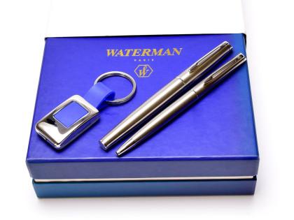 1990s Waterman Hemisphere Type 1 France Brushed Stainless Steel F Fine Nib Fountain & Ballpoint Pen In Gift Box & Keychain