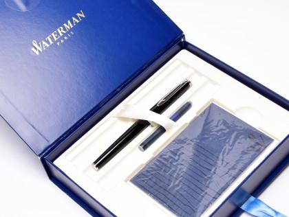 1990s Waterman Hemisphere France Black Lacquer & Chrome Silver Cartridge/Converter PT Medium Nib Fountain Pen In Gift Box & Cards