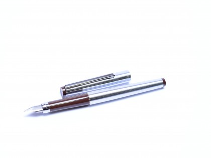 1980s East Germany GARANT DOKAR EF Nib Matte Stainless Steel & Brown Cartridge Fountain Pen