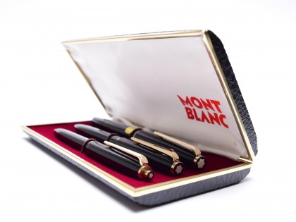NOS 1970s MONTBLANC No. 320 360 380 Black Resin 14K EF Fountain Pen Lever Ballpoint & 1.17mm Mechanical Pencil Set in Box