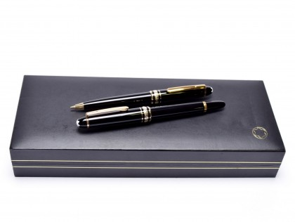 1991 Small Mini Montblanc Meisterstuck Masterpiece Homage to W. A. Mozart Black Resin & Gold Fountain & Pencil Set in Box