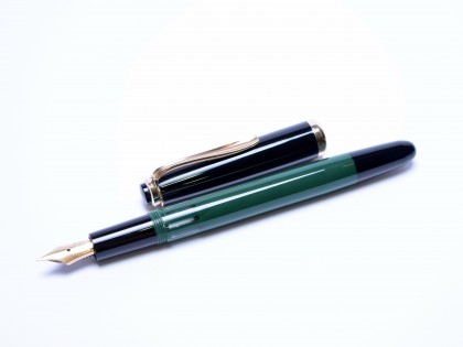 Flagship 1970s Reform 4000 Black & Green (Pelikan 400NN) 14K Gold Super Flexible Nib EF to 3B Fountain Ballpoint