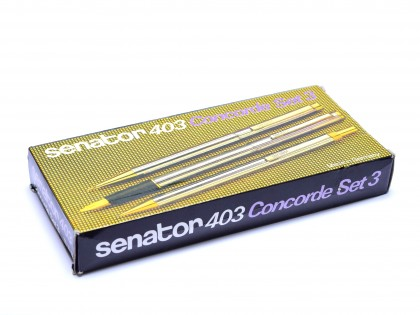 Super Rare 1970s Senator Concorde 403 Brilliant Chrome Fountain, Pencil & Ballpoint Pen Set in Box