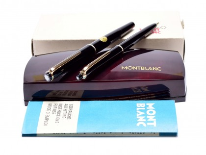 NOS New 1960s MONTBLANC No.32 & No.36 Pix Black Resin 14K Gold F/EF Nib Fountain Pen & Mechanical Pencil Set in Box
