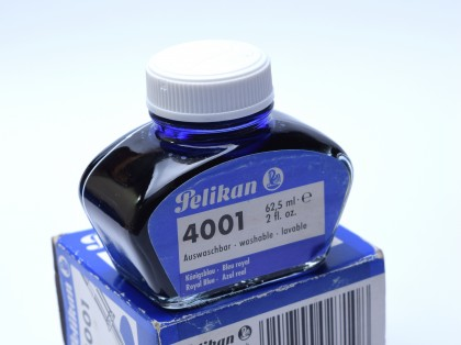 Vintage 80's PELIKAN Ink in Glass Bottle Container 62.5ml Royal Blue