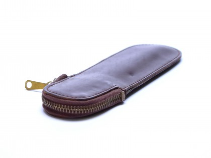 Vintage High Quality Thick Brown Genuine Leather Pouch Case Sleeve for 1 Fountain/Ballpoint Pen & Pencil With Top Zipper