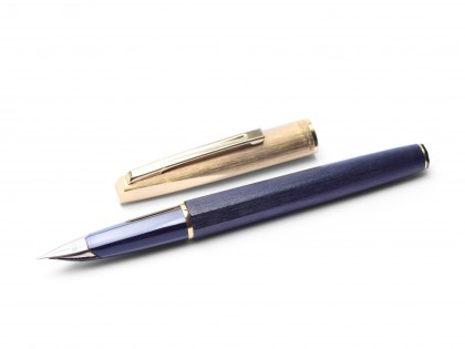1970s Waterman France (C/F CF) CONCORD Brushed Gold Plated 18K Gold Semi Flex Nib Fountain Pen