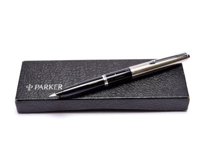 1960s PARKER 45 Standard Black & Stainless Steel Cap F Fine Nib Fountain Pen Made in England