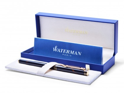 "Stunning 1990s Oversize Waterman IDEAL ""Exclusive"" Chinese Lacquer & Gold Fountain Pen 18K Gold M Nib In Box"