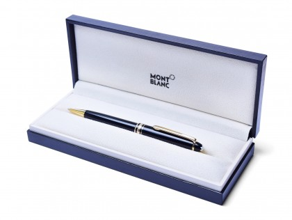 1980s Montblanc 165 Meisterstuck Masterpiece Black Resin & Gold 0.7mm Lead Twist Mechanical Pencil in Box