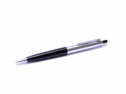 Rare 1957 Pelikan Silvexa Silver Star 555 (P1) Black Resin, Chrome & Matte Silver Push Button Ballpoint Pen