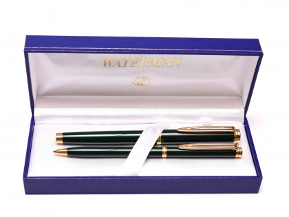 1990s NOS WATERMAN Gentleman Dark Olive Green Lacquer & Gold Plated Rollerball & Slimline Mechanical Pencil Set in Box