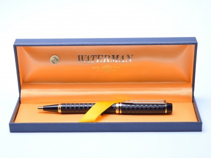 1990 Rare Waterman Harlequin  Ideal Le Man 100 Chased Checkerboard Ballpoint Pen In Box