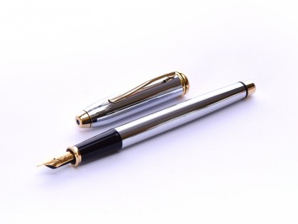 The Original Oversize 1990s CROSS Townsend Made in Ireland Steel Chrome & 23K Gold Fountain Pen Fine Nib in BOX
