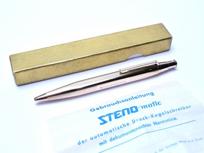 "Unique 4 Sided 1960's Steno Matic Germany Rolled Gold ""Walzgold"" Ballpoint Pen Barleycorn Pattern"