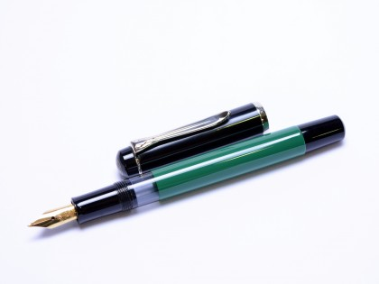 1980s West Germany Compact Pelikan M150 Black-Green M Medium Nib Piston Fountain Pen