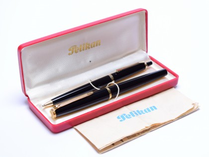 1960s Stunning Pelikan 30/M30 & DK30 Black Resin 14K EF Nib Fountain & Pencil Pen Set in Box