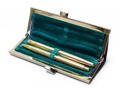 Vintage 1960s Lady SENATOR Germany Rolled Gold 14K Nib Fountain & Ballpoint Pen Set in Leather Pouch