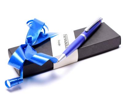 NOS New Rotring Freeway Navy Blue Metal Push Button Matte Satin Finish Ballpoint Pen In Box S0213040