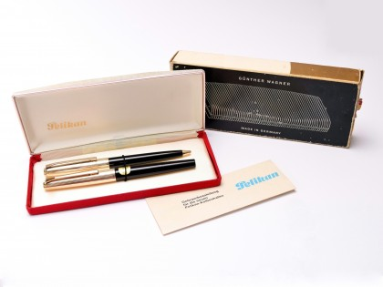 1960s New NOS Pelikan M30 & R30 (30) Rolled Gold 14K M Flex Nib Fountain & Ballpoint Pen Set in Box