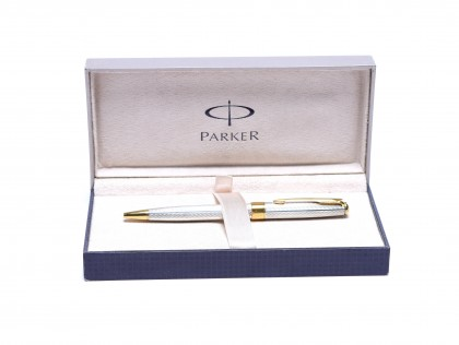 Parker Sonnet Fougere Chased 925 Solid Sterling Silver & Gold Twist Ballpoint Pen Made in France