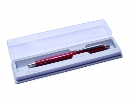 The Original 1984 NOS PARKER Vector Made in UK Classic Burgundy Maroon Red Ballpoint Pen in Box with New Refill