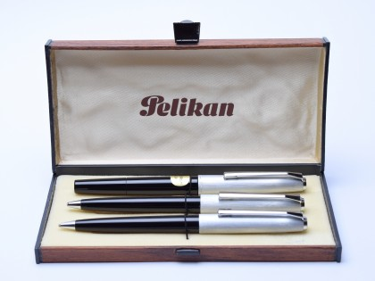 Rare 1970's Pelikan Silvexa 21 & 20 (M21) 14K EF Nib Silver Fountain Ballpoint Pencil Pen Set in Box