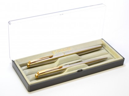 1970s Second Generation PARKER 45 Flighter UK Brushed Steel & Gold M Nib Fountain & Ballpoint Pen Set In Box