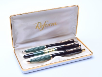 Flagship 1970's Reform 4000 Set (Pelikan 400NN) 14K Gold Flex Nib Fountain Ballpoint Pencil Pen Set In Box