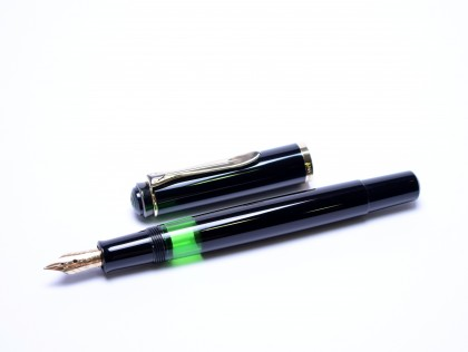 "Rare 1996 Pelikan M250 Black Resin with Rare Two Hole DF ""Durchschreib Fine"" Carbon Copy 14K Gold Nib Fountain Pen"