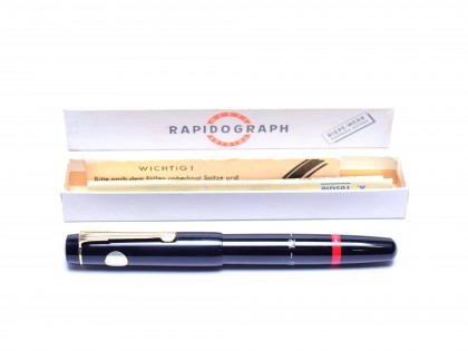 1950s NOS 1.2mm Rotring Rapidograph Piston Filler Technical Drawing Pen In Box