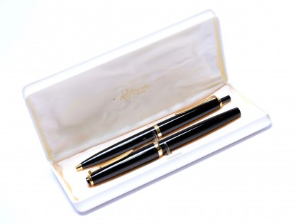 1970s NOS Reform Germany 4328 Round Black Resin & Gold B Broad Nib Fountain & Ballpoint Pen Set In Box