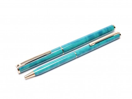 Sheaffer Fashion 293 Jade Emerald Green Lacquer Gold Plated Trim Rollerball & Ballpoint Set Made in USA