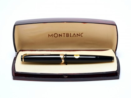NOS In Box Large 1960s MONTBLANC No.14 Masterpiece Meisterstuck Black Resin 18K 750 Gold EF Nib Fountain Pen