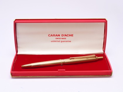 Extremely Rare Oversize 1970s Caran d'Ache No. 852 Gold Plated Ballpoint Pen In Box