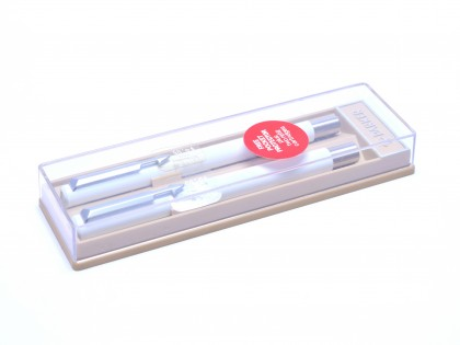 The Original 1984 NOS PARKER Vector Made in UK All White & Matte Steel Rollerball & Fountain Pen Set in Box