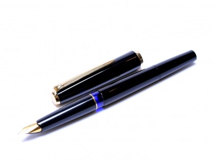 Rare 1970s Pelikan 120 Type III Series 3 All Black Resin Gold Plated EF Nib Piston Fountain Pen