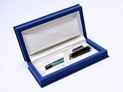 Massive & Oversize PELIKAN M1000 Souveran Flexible F Fine 18C 750 Gold Tortoise Green Striped Fountain Pen