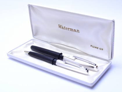 "1970's Waterman France (C/F) CONCORD Brushed ""Argente Rhodie"" Silver & Rhodium 18K Gold Nib Fountain & Ballpoint Pen Set In Box"