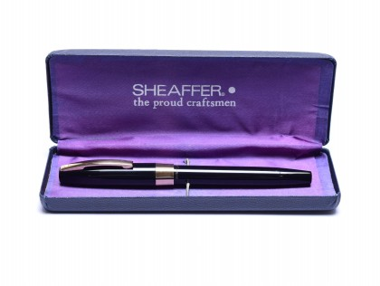 1960s Sheaffer Imperial IV Touchdown Black Resin & Gold Filled Trims 14K Semi-Flex EF Extra Fine Nib Fountain Pen