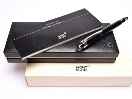 Classic Montblanc STARWALKER Precious Midnight Black Resin & Platinum Trim 14K White Gold M Nib Cartridge/Converter Fountain Pen