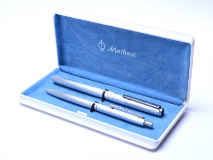 Rare Markant M7720 & K7730 East Germany Deep Brushed Anodized Aluminum Steel F Nib Cartridge Fountain & Ballpoint Pen Set in Box