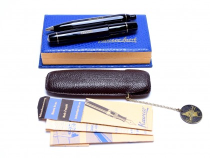 Stunning NOS New Old Stock Original 1950s 12 Sided Black Resin KAWECO SPORT 12/V12 Flexible OB Oblique Broad & 618 Fountain & Ballpoint Pen Set in Leather Pouch